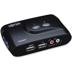 Tripp Lite B004-VUA2-K-R 2-Port Desktop Compact USB KVM Switch with Audio & Cable Kit