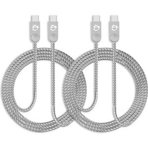 SIIG CB-US0L11-S1 Zinc Alloy USB-C to USB-C Charging & Sync Braided Cable - 3.3ft, 2-Pack