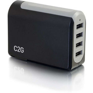 C2G 20277 4-Port USB Wall Charger - AC to USB Adapter, 5V 4.8A Output