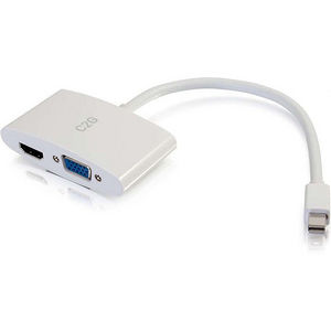 C2G 28272 8in Mini DisplayPort Male to HDMI or VGA Female Adapter Converter - White