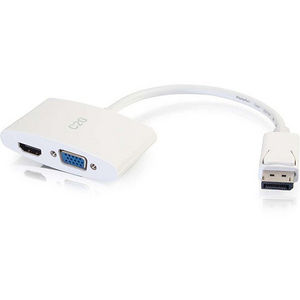 C2G 28274 8in DisplayPort Male to HDMI or VGA Female Adapter Converter - White
