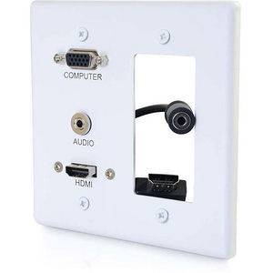 C2G 39877 Decorative Dual Gang VGA, 3.5mm Audio and HDMI Wall Plate White
