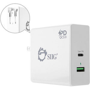 SIIG AC-PW1F12-S1 65W USB-C PD Charger Power Delivery with QC3.0 Wall Charge