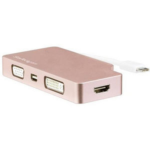 StarTech CDPVDHDMDPRG Rose Gold 4K Multiport Video Adapter - 4-in-1 USB-C to VGA, DVI, HDMI or mDP