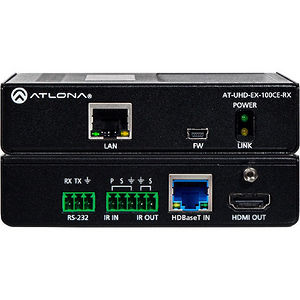 Atlona AT-UHD-EX-100CE-RX 4K/UHD HDMI Over 100M HDBaseT Receiver with Ethernet, Control and PoE