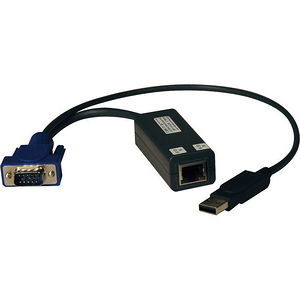 Tripp Lite B078-101-USB-1 USB Single Server Interface Unit Virtual Media KVM Switch HD15 USB RJ45