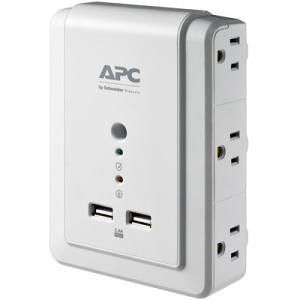 APC P6WU2 Essential SurgeArrest 6 Outlet Wall Mount With USB, 120V