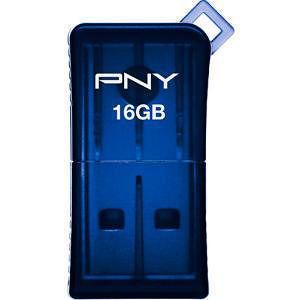 PNY P-FDU16GSLK/BLU-GE 16GB Micro Sleek Attache USB Flash Drive - Blue
