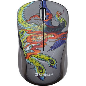 Verbatim 98613 Wireless Notebook Multi-Trac Blue LED Mouse, Tattoo Series