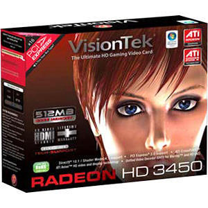 VisionTek 900302 Radeon 3450 512MB DDR2 PCI (DVI-I, VGA, TV Out)