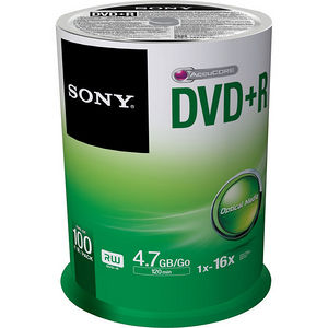 Sony 100DPR47SP DVD Recordable Media - DVD+R - 16x - 4.70 GB - 100 Pack Spindle