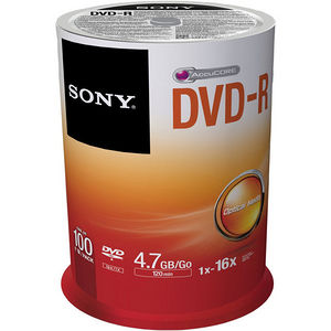 Sony 100DMR47SP DVD Recordable Media - DVD-R - 16x - 4.70 GB - 100 Pack Spindle