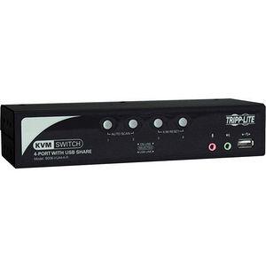 Tripp Lite B006-VUA4-K-R 4-Port Desktop KVM Switch Audio, 2-Port USB, On-Screen Display & Cables