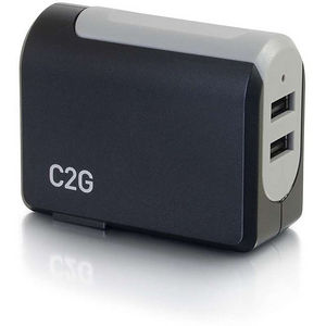 C2G 20276 2-Port USB Wall Charger - AC to USB Adapter, 5V 4.8A Output