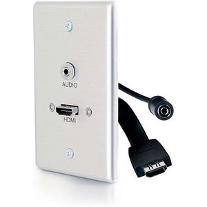 C2G 39871 Single Gang HDMI Wall Plate with 3.5mm Audio Aluminum