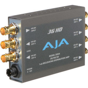 AJA 3GDA 1x6 3G HD/SD SDI Reclocking Distribution Amplifier