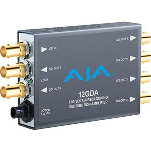 AJA 12GDA 1x6 12G HD/SD SDI Reclocking Distribution Amplifier, 120M 12G cable equalization