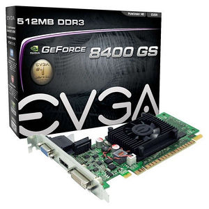 EVGA 512-P3-1300-LR GeForce 8400 GS Graphic Card - 520 MHz Core - 512 MB DDR3 SDRAM - PCIE 2.0 - LP