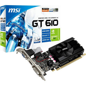 MSI N610GT-MD2GD3/LP GeForce GT 610 Graphic Card - 810 MHz Core - 2 GB DDR3 SDRAM - PCI-E 2.0 x16