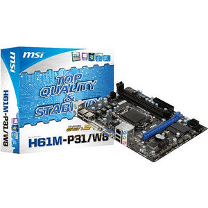 MSI H61M-P31/W8 Desktop Motherboard - Intel Chipset - Socket H2 LGA-1155