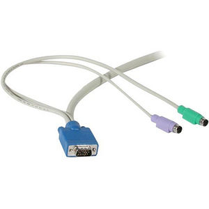 C2G 24068 10ft 3-in-1 HD15 VGA MM + PS/2 MM KVM Cable