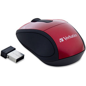Verbatim 97540 Wireless Mini Travel Optical Mouse - Red