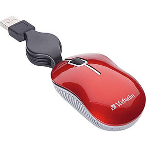 Verbatim 98619 Mini Travel Optical Mouse, Commuter Series - Red