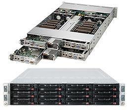 Supermicro SYS-6028TR-HTFR 2U Barebone System - C612 chipset - 4xNode - Socket LGA 2011-v3 - 2x CPU